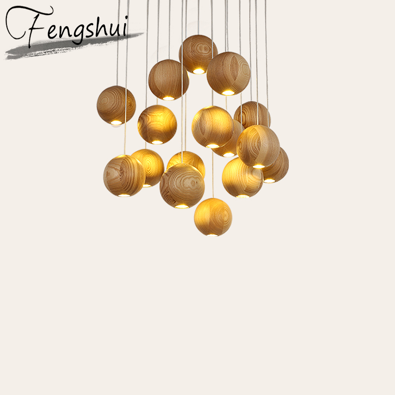Modern Solid Wood Ball Pendant Lights Led Kitchen Dining & Bar Pendant Lamp Furniture Decoration Lamps Hanging Lamp Luminaire