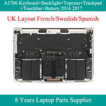 A1706 FR SP UK Layout For Macbook Pro A1706 Assembly Topcase French Swedish Spanish Keyboard