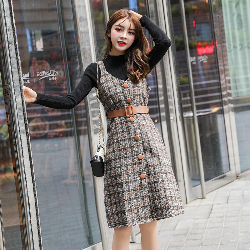 Fall 2019 Women Dress Elegant Sets Black Sweater Vintage Plaid Woolen A-line Dress With Belt