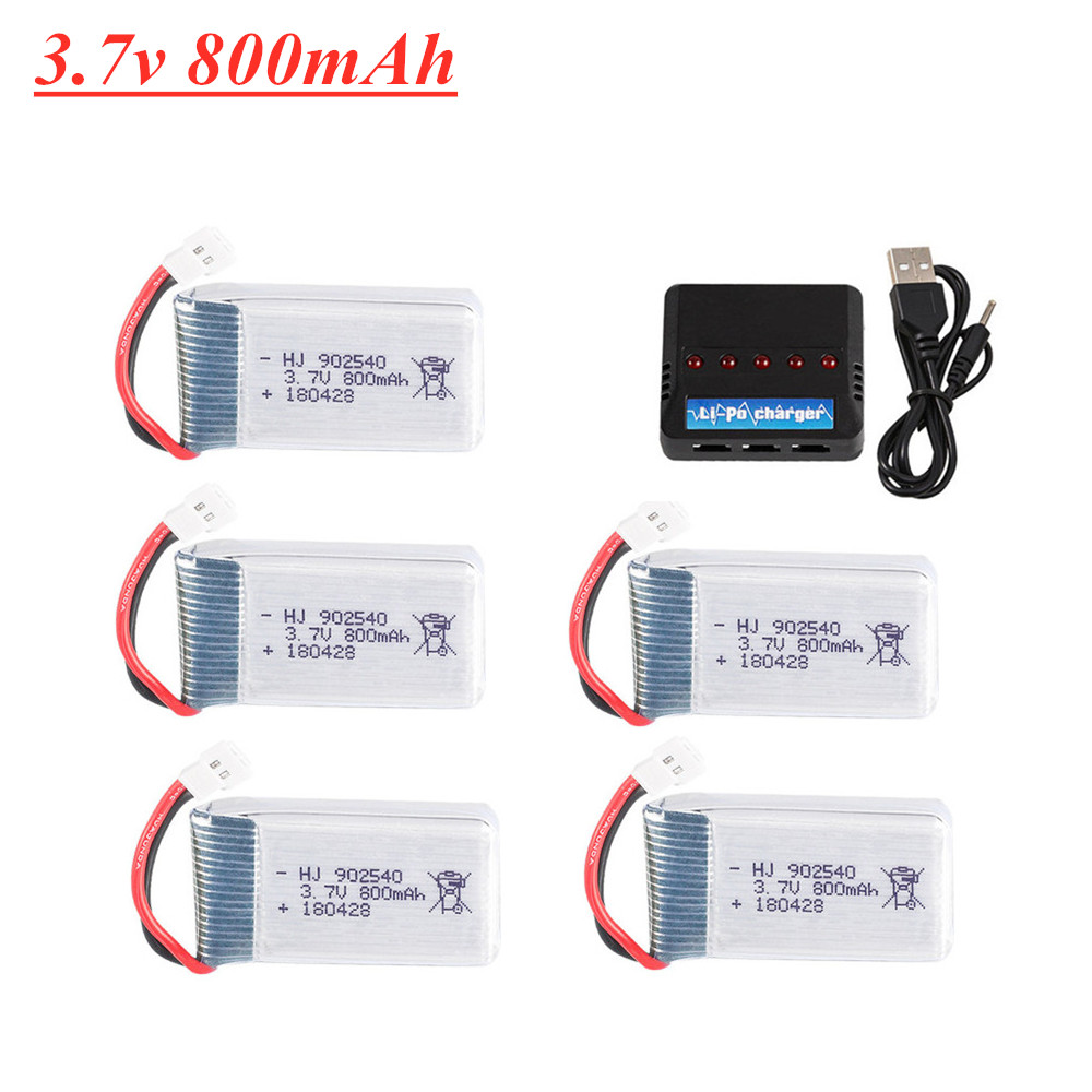 5 Pcs 3.7V 850mAh Lipo Batteries Syma Charger x5C X5SW X5SC X55