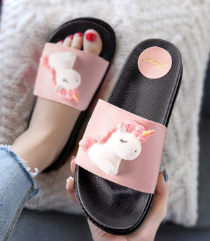2020 new trend cute Cartoon Unicorns platform home flip-flops Shoes women girls student summer Beach house bathroom slippers 1