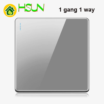High-grade 1 2 3 4 gang 1 2 way big panel Grey switch socket Type 86 Wall 2.5D Cambered Mirror Toughened glass Computer TV 21