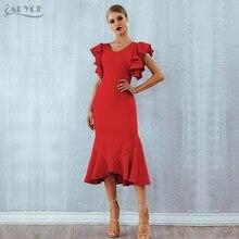 Adyce 여름 레드 Ruffles 연예인 이브닝 파티 드레스 여성 Vestidos 2020 나비 민소매 백리스 인어 클럽 드레스