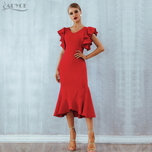 Adyce Summer Red Ruffles Celebrity Evening Party Dress Women Vestidos 2020 Butterfly Sleeveless Backless Mermaid Club Dress
