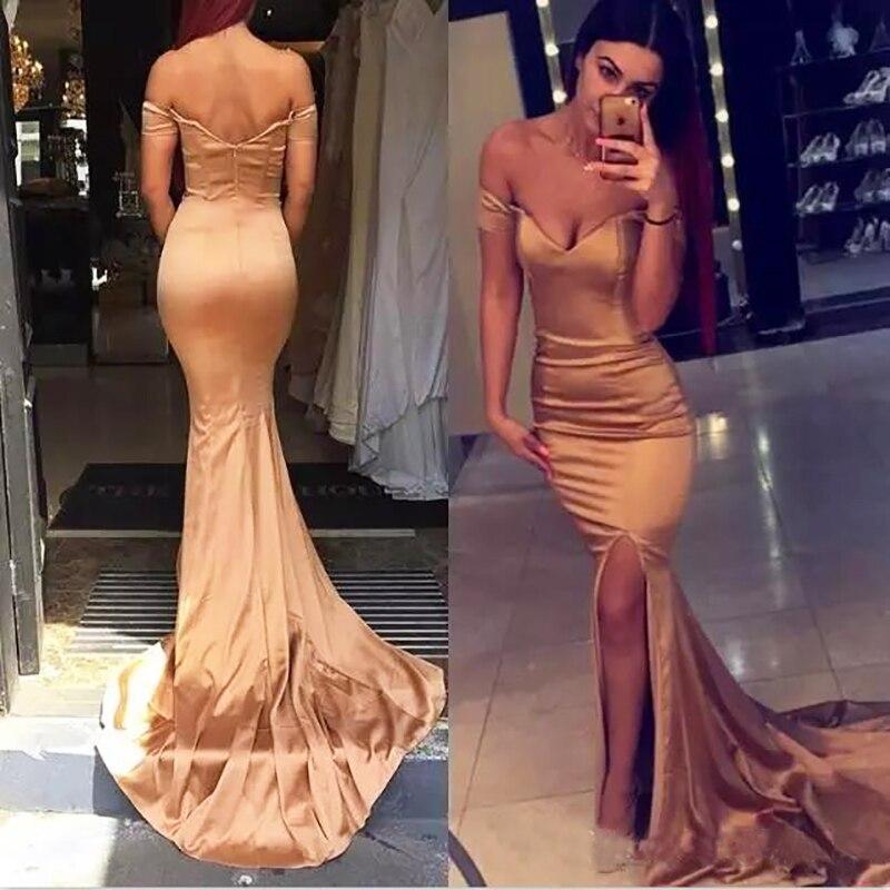 Rose Gold Long Satin Prom Dress Sexy Side Split Mermaid Evening Dresses Formal Gala Evening Gowns Vestido De Festa Longo