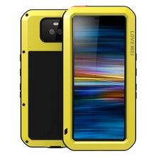 Mạnh mẽ Dành Cho Sony Xperia 10 Plus Bọc Thép Chịu Ngoài Trời Chống Sốc Kính Cường Lực Gorilla Glass Kim Loại Ốp Lưng Viền Nhôm Cho Sony Xperia 10