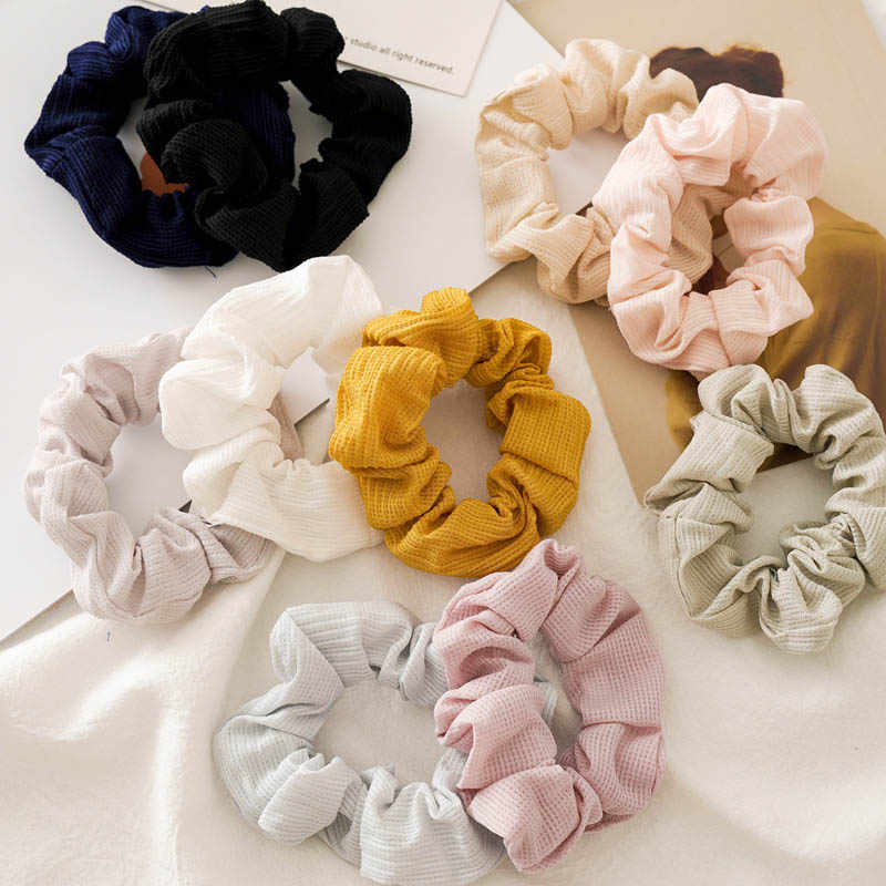 2019 New Women Wrinkle Scrunchie Elastic Hair Bands Korean Solid Hair Ropes Ponytail Holder Girls Hair Ties Accessories Headwear