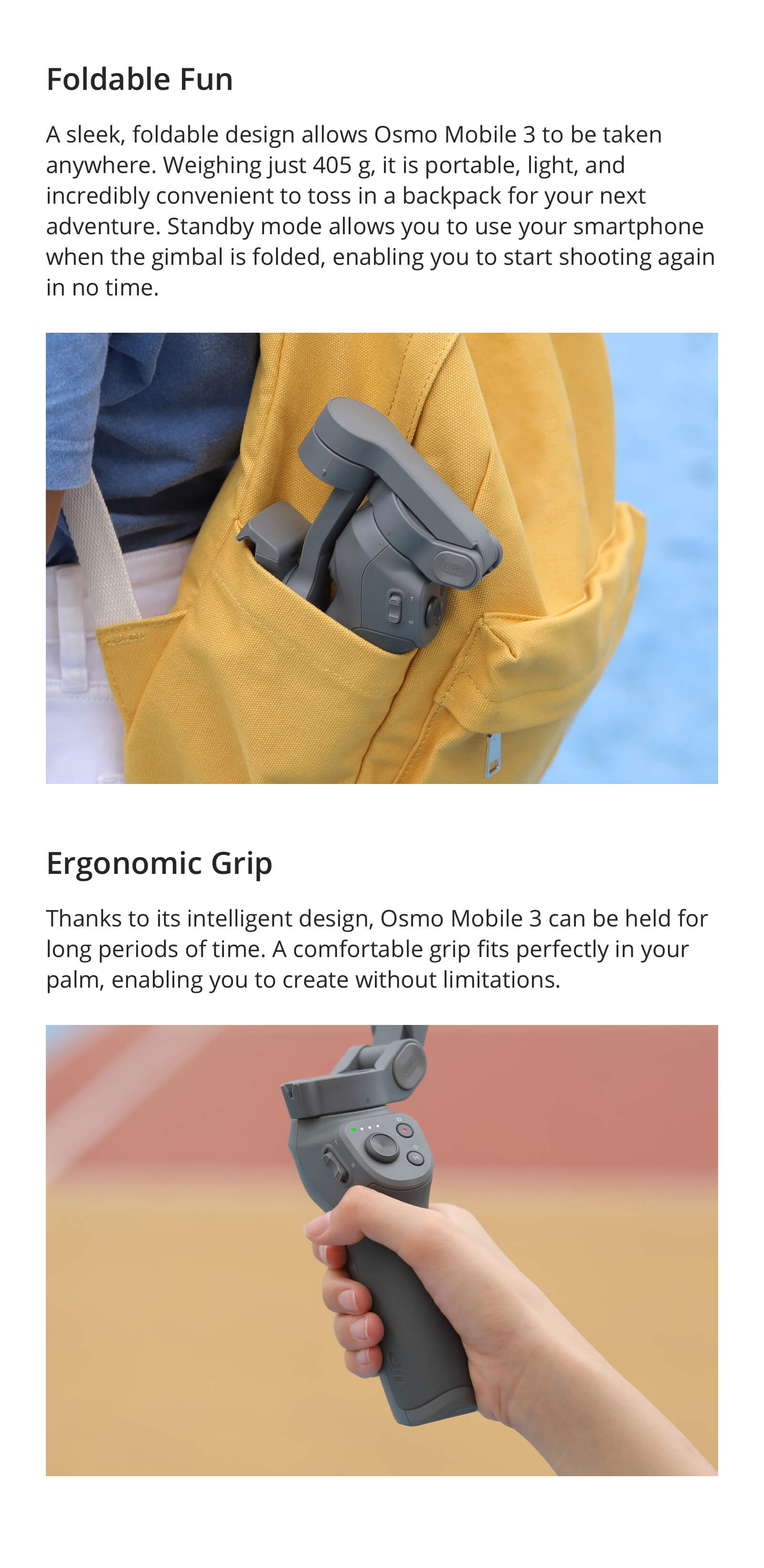 DJI Osmo Mobile 3 is a foldable gimbal for smartphones with intelligent functions providing stable and smooth footage.