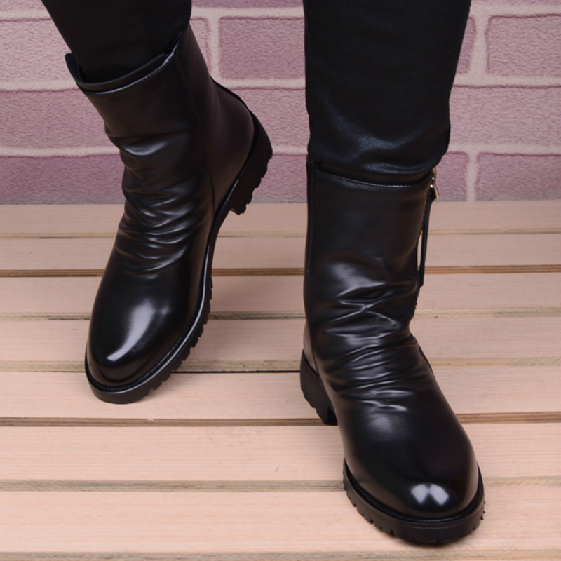 Image 4 - men casual stage motorcycle dresses cowboy boots spring autumn  genuine leather shoes pointed toe military boot ankle bota sapatoBasic  Boots