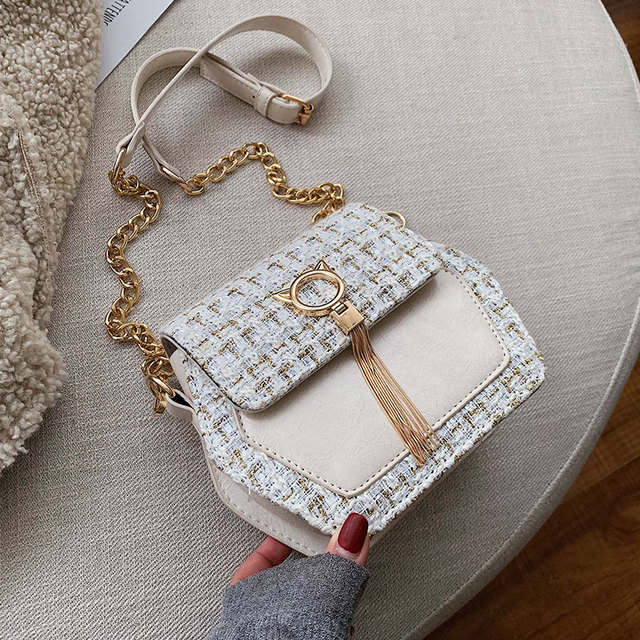 Elegant Female Tassel Square Bag 2019 Winter Fashion New High Quality Woolen Women's Designer Handbag Chain Shoulder Messenger Bag