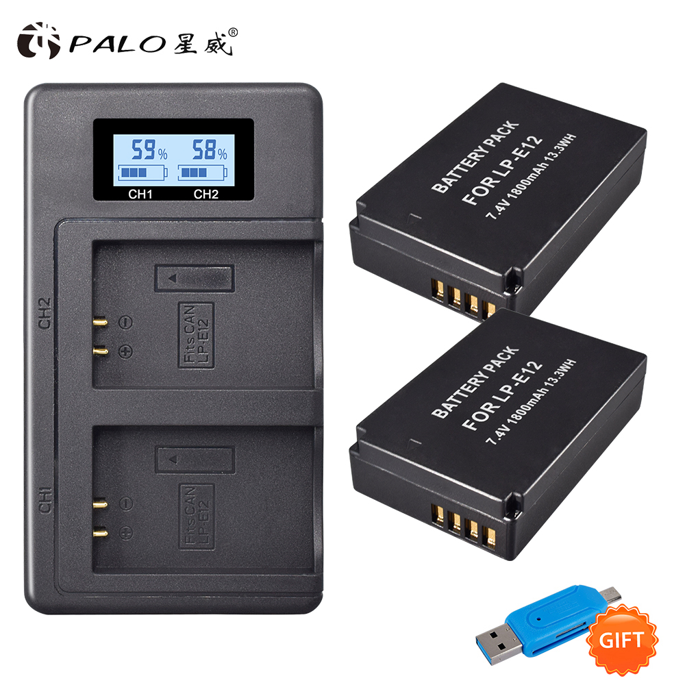 2Pcs 1800mAh LP-E12 LP E12 LPE12 Li-ion <font><b>Battery</b></font>+LCD USB Dual Charger for <font><b>Canon</b></font> EOS M50 EOS M100 <font><b>100D</b></font> Kiss X7 Rebel SL1 Camera image