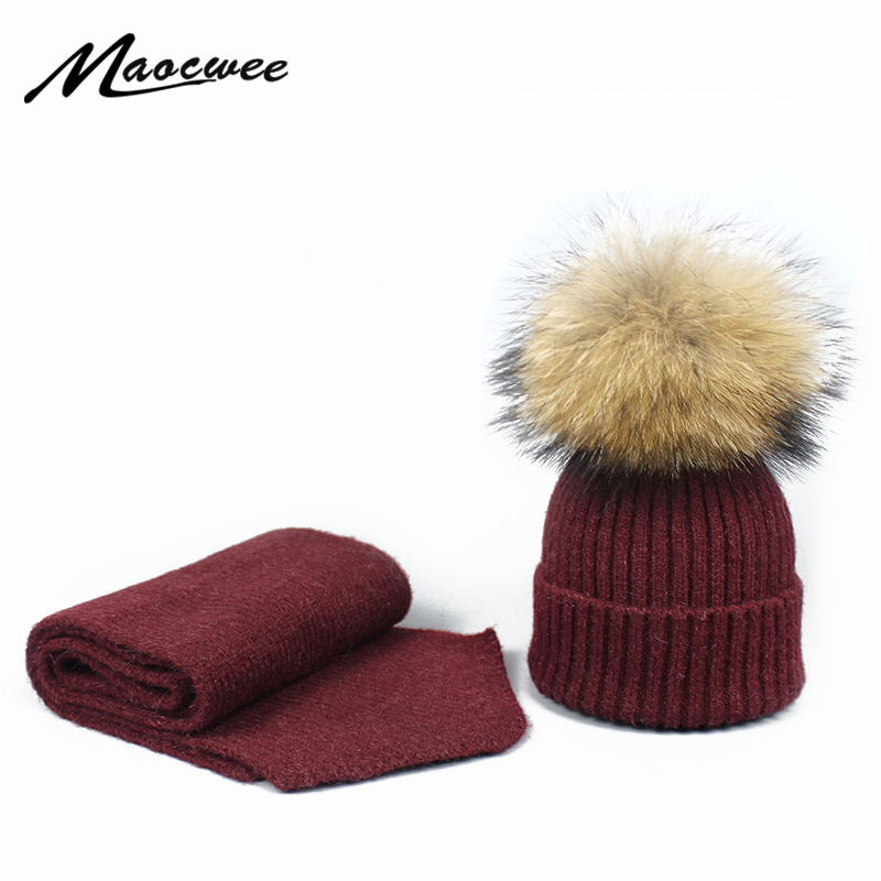 Beanie Cap Winter PomPon Knitted  Children Cap Adult Scarf Hat Set Hat Women Men Acrylic Unisex Solid Color Keep Warm Elastic