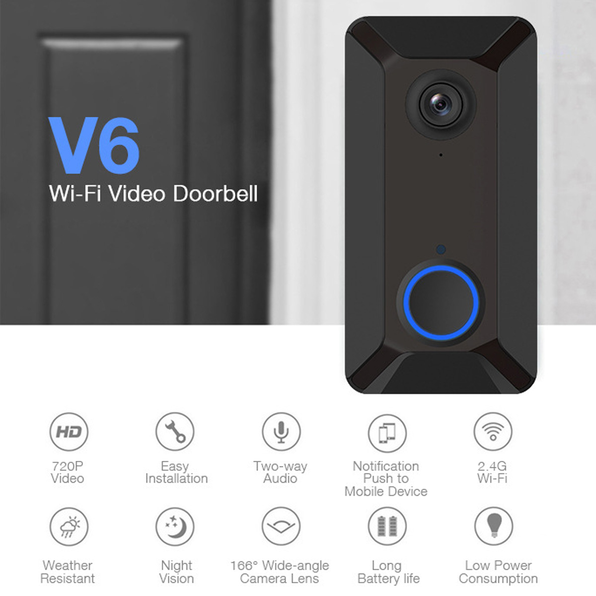 WIFI Video Doorbell V6 Camera 720P Radio Bell Smart Real-time Intercom IR Alarm Wireless Ding Dong Doorbell Chime Receiver