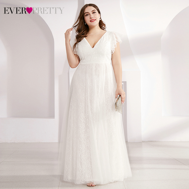 Plus Size Lace Evening Dresses Ever Pretty Double A-Line V-Neck Ruffles Sleeve Tulle Elegant Long Party Gowns Vestido De Festa