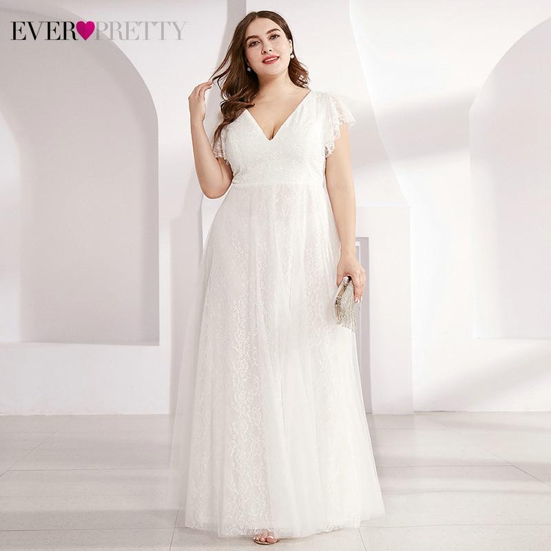 Plus Size Lace   Evening     Dresses   Ever Pretty Double A-Line V-Neck Ruffles Sleeve Tulle Elegant Long Party Gowns Vestido De Festa