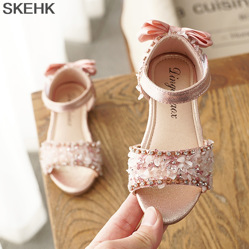 Baby Girl Children Leather Sandals New Sandals Kids Summer Girls Shoes Flower Child Sandals White&Yellow&Pink Shoes Girls