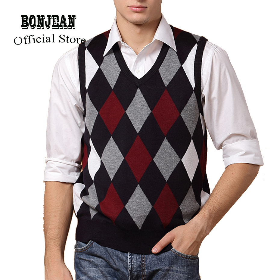 Designer Sweater Pullover Knit Vest For Men Sleeveless Wool Stylish Fashion Casual V Neck Basic Red Blue Checkered 2018 0827