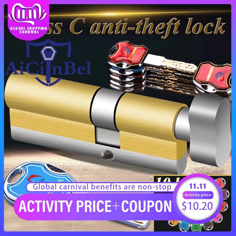 Door cylinder 60 65 70 75 80 85 90mm Security Copper Lock Cylinder Interior Bedroom Living Handle Br