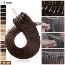S-noilite 0.5g/s Natural Hair Extensions Human Hair 100Strands Hair Rings Micro Link Micro Loop 14