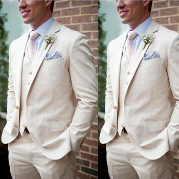 Beige Linen Beach Wedding Suits For Men Slim Fit 3 Pieces Groom Tuxedos Prom Men Suits (Jacket+Pants+Vest) 1
