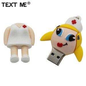 Image 2 - Tekst mi nowy styl cartoon pielęgniarka model usb2.0 4GB 8GB 16GB 32GB 64GB pen drive pamięć USB kreatywny Pendrive