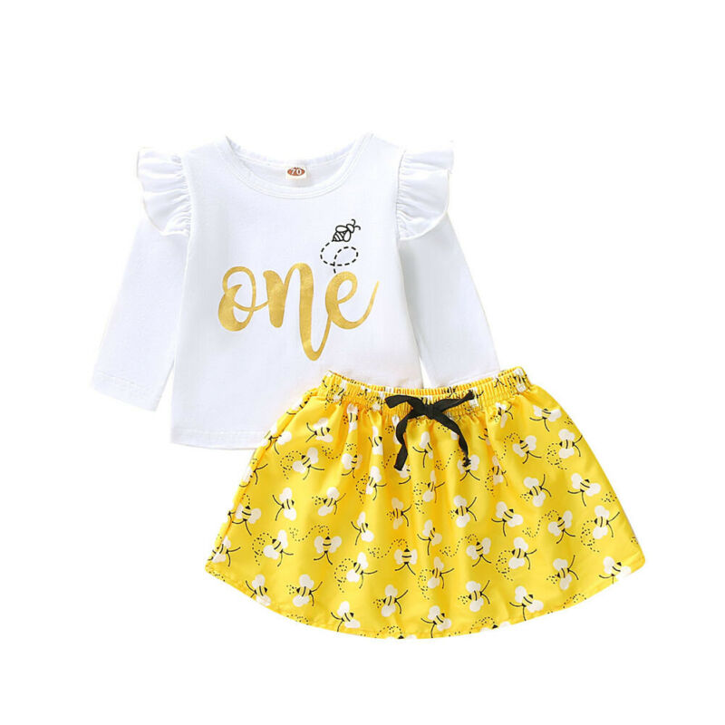 New Baby Girls Kids Long Sleeve T-shirt+tutu Skirt Dress Outfit Birthday Clothes