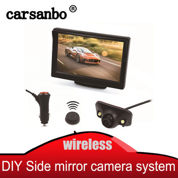 Wireless button side view blind zone system with 5 inch bracket display side view camera Mini CCD Night Vision side view Camera