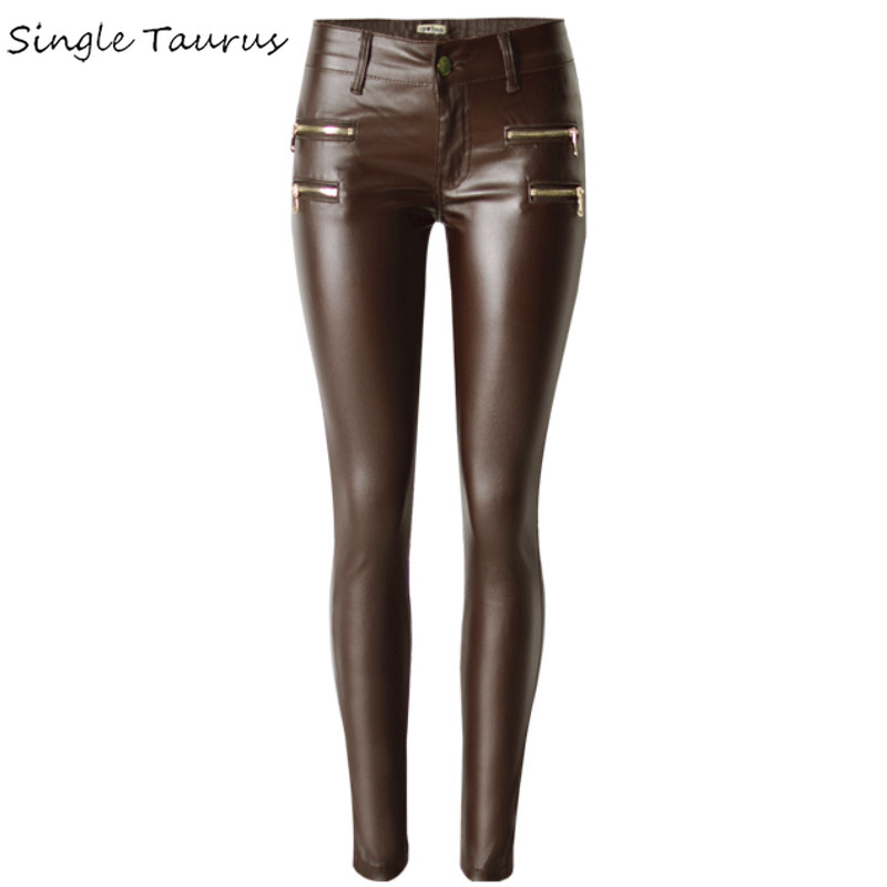 Low Waist Brown Skinny Pants Women PU Coating Push Up Jeans Femme Fashion Fake Zippers Elasticity Leather Pantalones Mujer 2019