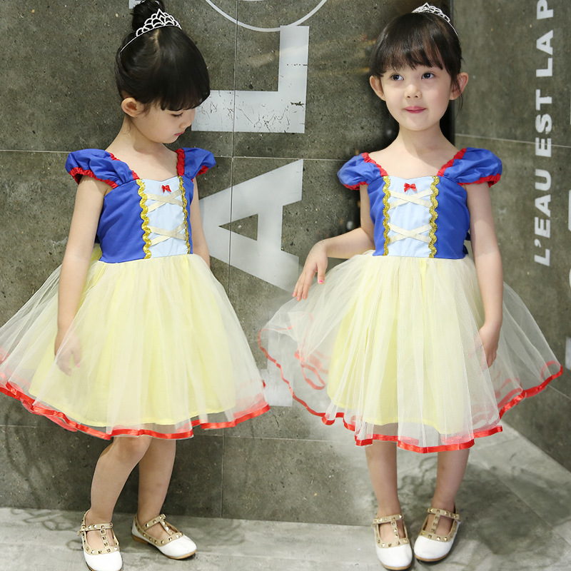 Girls Performance Costume Snow White Princess Dress Summer Birthday Party Evening Gown Skirt Children Performance Puffy Mesh Dre
