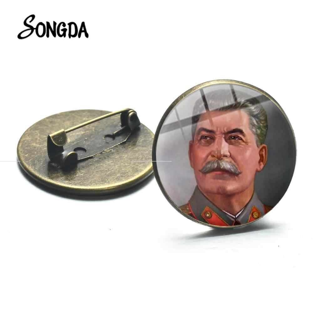 SONGDA Hero Stalin CCCP Retro Brooch Sickle Hammer Sign Soviet Russian Army Icon Badge for Men Coat Suit Metal Pins High Quality