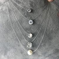 SUMENG nouvelle personnalité mode carré Imitation perle cristal Zircon collier Invisible Transparent ligne de pêche collier femmes