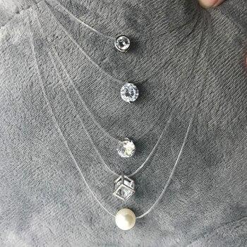 SUMENG-collar cuadrado de perlas de imitación de cristal para mujer, gargantilla de...