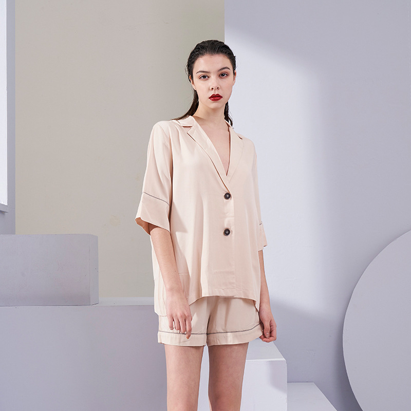 Women Solid Color Simple Elegant Pajama Set V-Neck Shorts Solid Satin Sleepwear Loungewear Sexy Clothes 2 Piece Women Wear