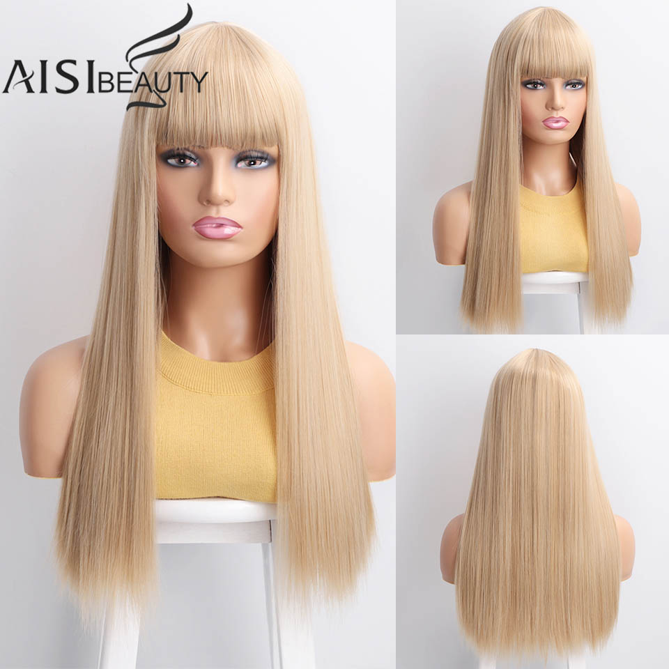 Aisibeauty Long Synthetic Wig With Bangs 26''4Colors High Density Natural Headline Heat Resistant Straight Hair Wigs For Women
