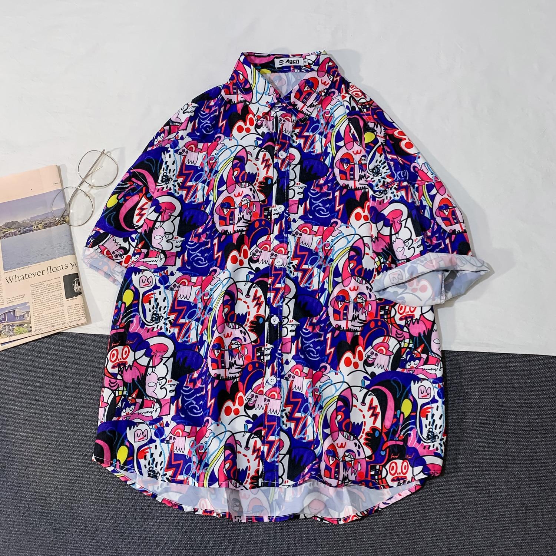 OSCN7 Casual Streetwear Beach Printed Short Sleeve Shirt Men 2020 Hawaii Oversize Fashion Harujuku Women Shirts C156