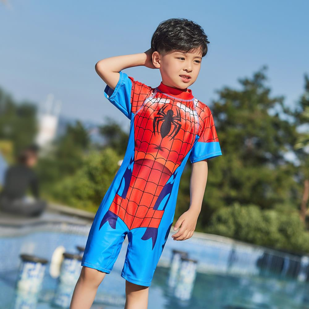 2019 Korean-style New Style Children BOY'S Men And Treasure Spider-Man Cute Hot Springs One-piece Swimming Suit Long Sleeve Sun-
