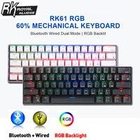 Royal Kludge RK61 tastiera da gioco meccanica leggera a doppia modalità 60% RGB cablata compatibile con Bluetooth per telefoni cellulari con Tablet portatile