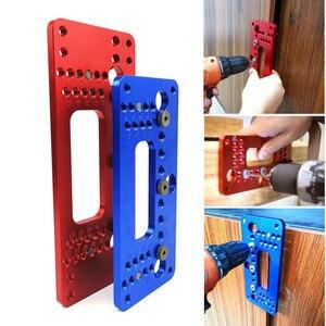 Image 1 - Ahşap alüminyum alaşımlı cep delik Pitch Jig seti dolap kapağı dolabı pozisyoner kolu yumruk bulucu matkap kılavuz kol