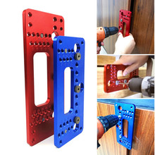 Woodworking Aluminum Alloy Pocket Hole Pitch Jig Set Wardrobe Door Cabinet Positioner Handle Punch Locator Drill Guide Sleeve