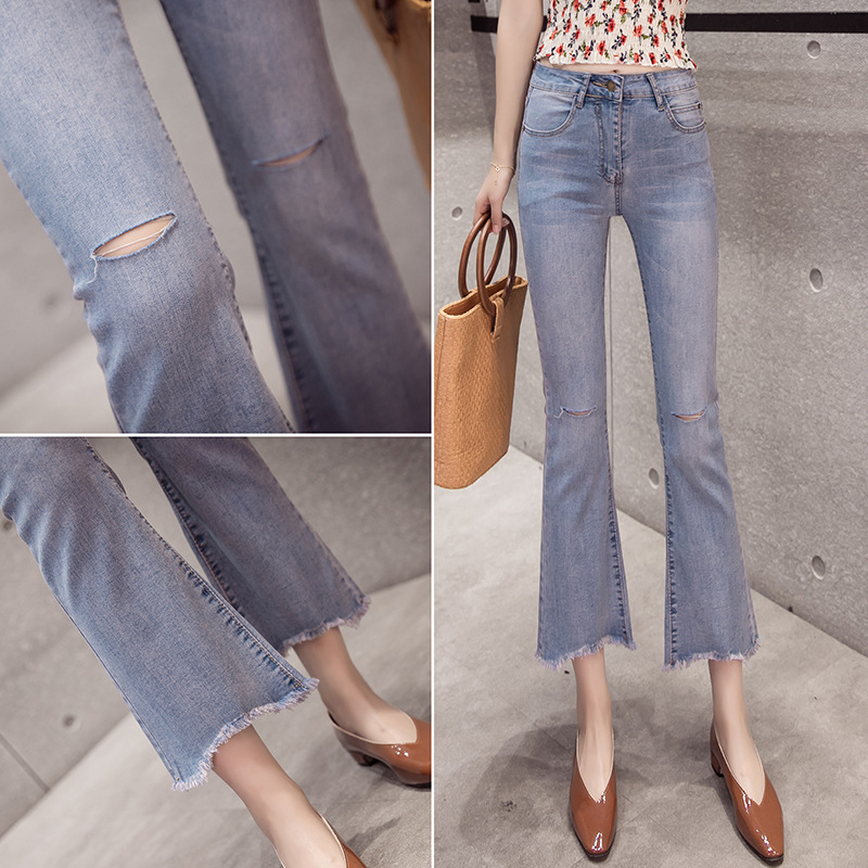 Hot Selling Photo Shoot Korean-style With Holes Black Jeans Women's Micro Trumpet 2019 Spring New Style Capri Straight-Leg Pants