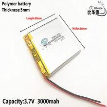 1 pièces polymère batterie 3000 mah 3.7 V 506060 smart home MP3 haut-parleurs Li-ion batterie pour dvr, GPS, mp3, mp4, téléphone portable, haut-parleur