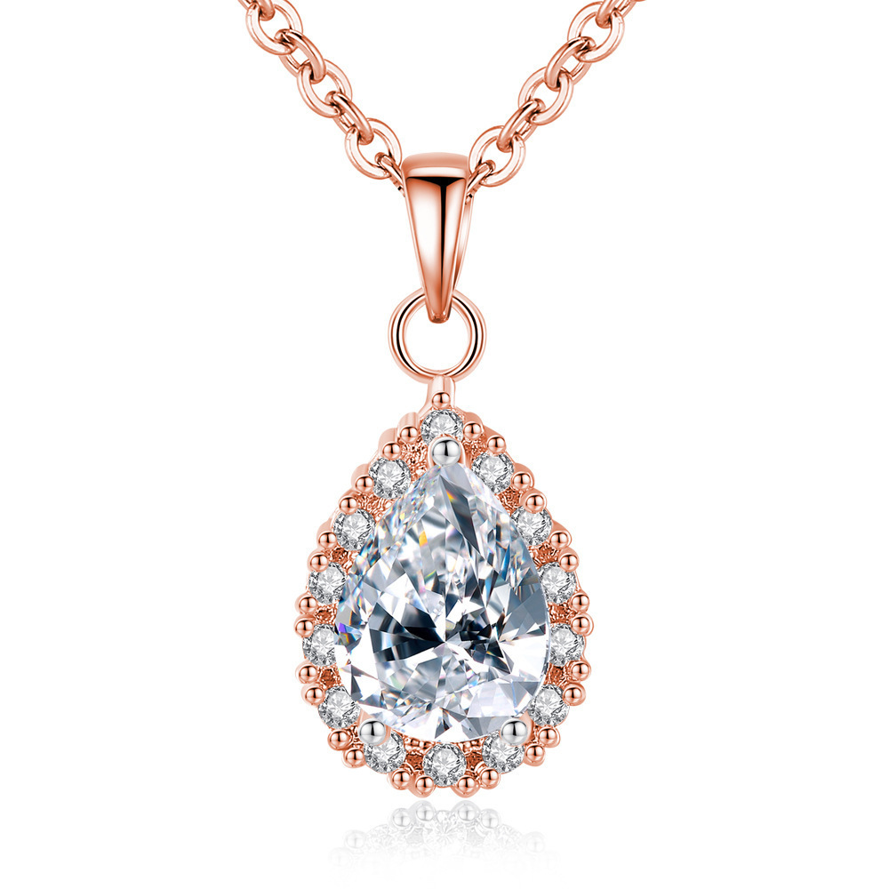 AAA Zircon Diamonds Classical Water Drop Crystal Pendant Necklaces For Women Rose Gold Silver Color Choker Chain Jewelry Bijoux