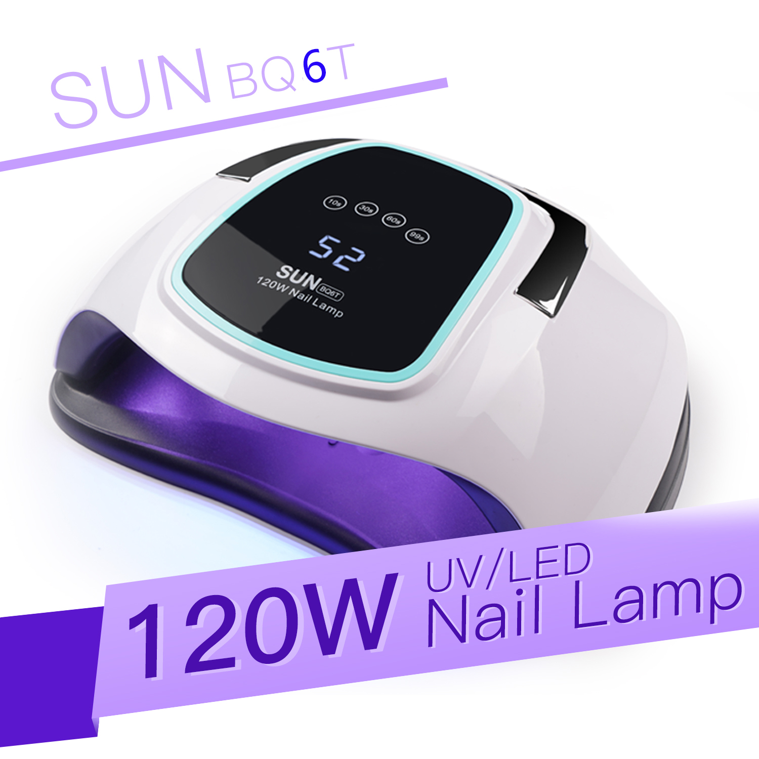 SUN BQ6T 120W UV LED Lamp For Nails Dryer Drying For Manicure Gel Nail Lamp Drying For Gel Varnish LCD Screen Nail Dryer