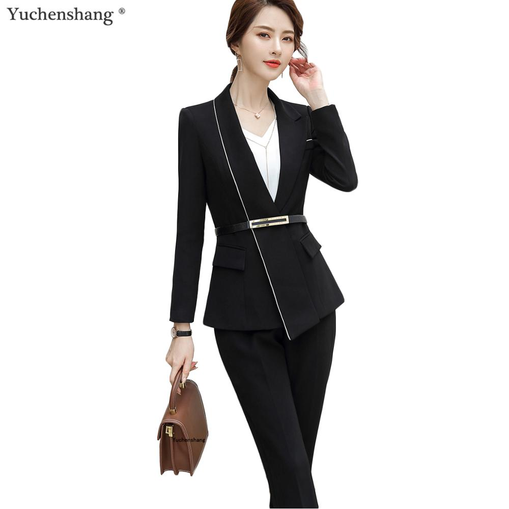 Women Black White Pant Suit Winter S-5XL Fashion Chinese Style For Hotel Airplane Work Women Suit Blazer And Pant Sets