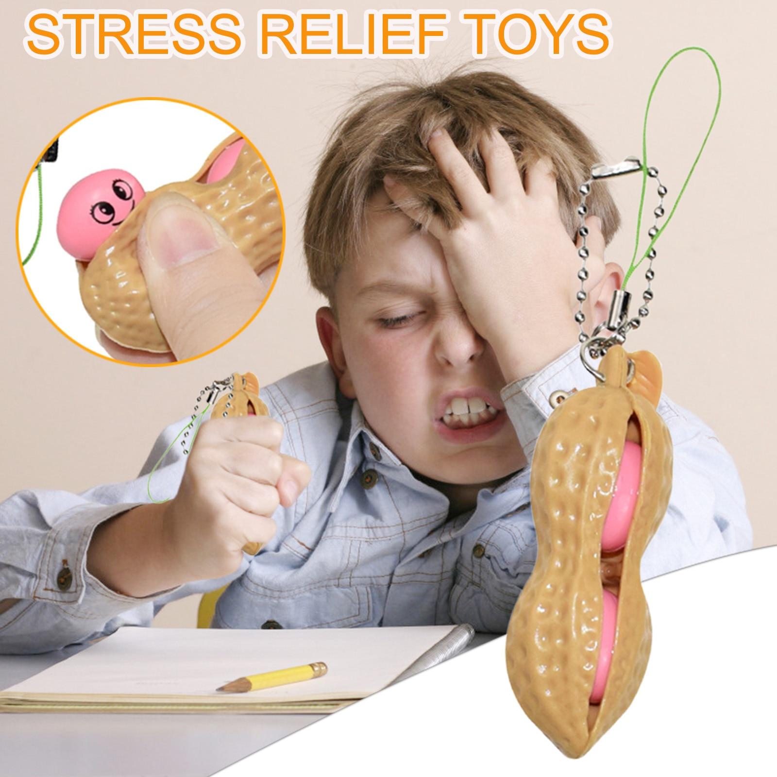 Pops It Keychain Fidget-Toys Beans Antistress Toy Decompression Fun Press-A-Peanut-Toy img2