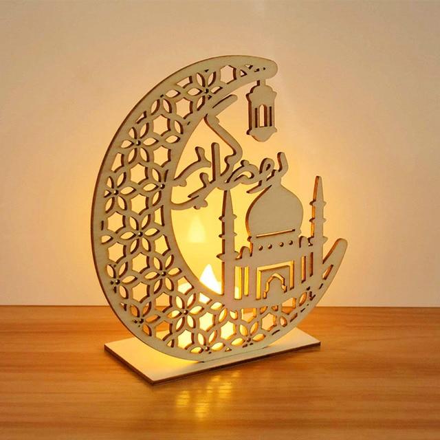 EID Mubarak Wooden Pendant with LED Candles Light Ramadan Decorations For Home Islamic Muslim Party Eid Decor Kareem Ramadan 3