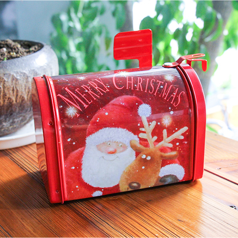 Creative Christmas Gift Boxes Candy Tin Package Kids Mailbox Case Santa Claus Snowman Printed Festival Sealed Jar Packing Boxes in Gift Bags Wrapping Supplies from Home Garden