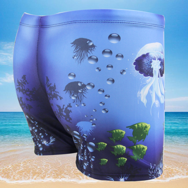 Men Casual Conservative AussieBum Fashion Underwater World Quick-Drying Digital Printing Swimming Trunks Swimwear 870