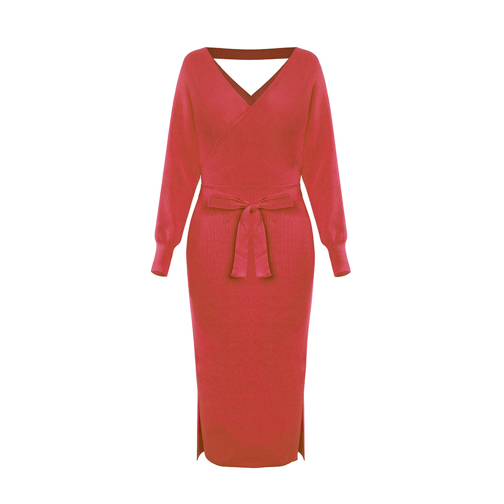 Long Sleeve V Neck With Cross Belt Sweater Knitted Dress 18