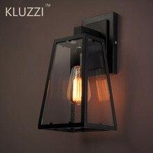 Lámpara de pared americana Vintage para exteriores, luminaria de cristal negro de hierro, luz Industrial de porche para interior, café del hotel, pared de tienda, luz de jardín